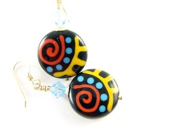 Black Glass Bead Earrings, Red Blue Yellow Lampwork Earrings, Beaded Earrings, Lampwork Jewelry, Colorful Fun Earrings, Beadwork Earrings