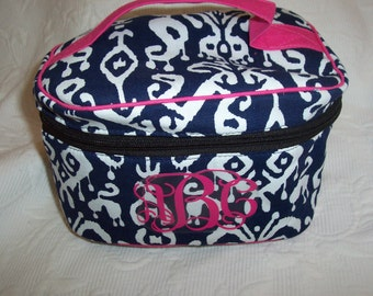 Monogrammed Navy IKAT Train Case Cosmetic, Jewelry -Make up Bag, Cosmetic Tote