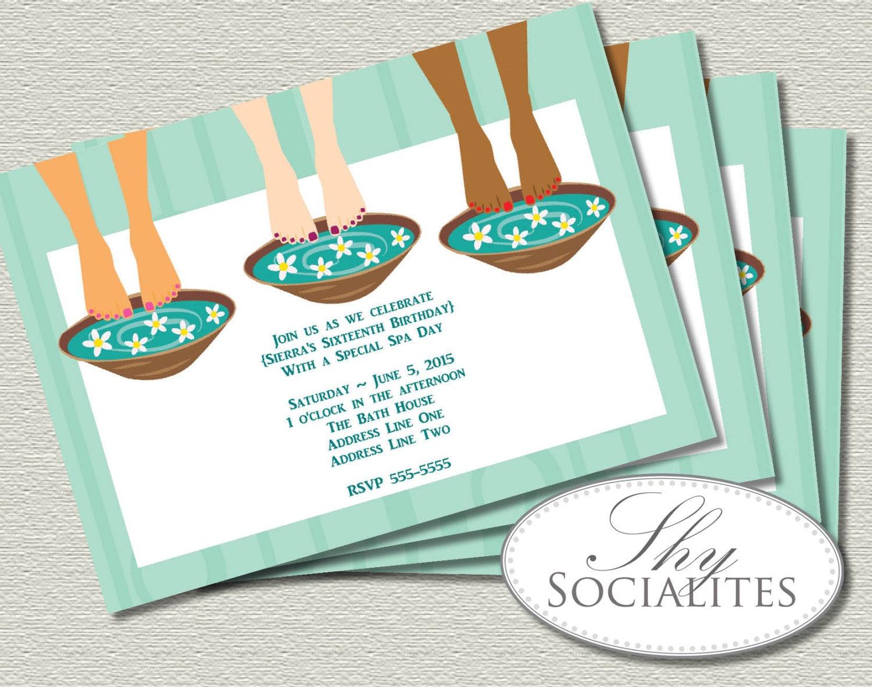 Spa Party Pedicure Trio Invitation Spa Invitation Pedicure – Pedicure Party Invitations