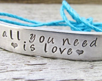 Friendship Bracelet ONE Custom Hand Stamped Jewelry Name Tie On Hemp Cord Personalized BFF All You Need Is Love