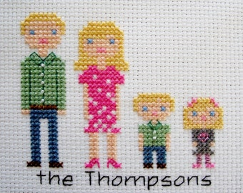 Completed Custom Family Portrait in Cross Stitch for 2-6 Person Families