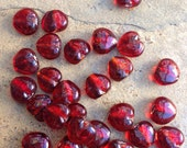 Heart Shape Beads, Red Heart Beads, Silver Foil-lined Glass Beads, 20 loose beads, 12mm