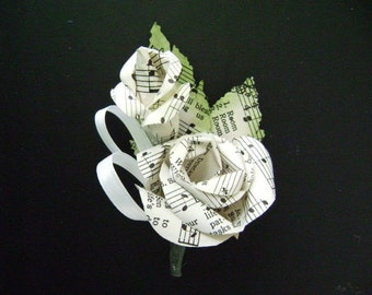 vintage sheet music hymnal paper rose and bud wedding  boutonniere buttonhole for groom or groomsmen