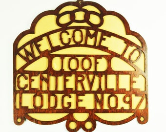 Vintage Odd Fellows -Folk Art Lodge Sign/PRICE REDUCED