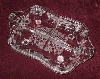 Large New Martinsville Florentine Etched Cut Crystal Relish Dish Tray 12 Inches Ornate Scrolls Leaves Vintage