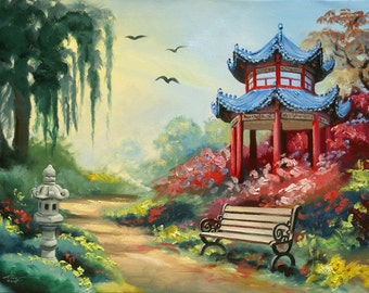 Pagoda landscape 24x36 oils on canvas painting by RUSTY RUST / M-289