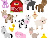 Farm Animals Clipart, Farm Animals Clip Art, Barnyard Clipart, Barnyard Animals Clip Art - Commercial and Personal Use