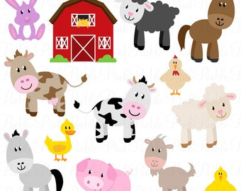 Farm Animals Clipart, Farm Animals Clip Art, Barnyard Clipart, Barnyard Animals Clip Art - Commercial and Personal Use
