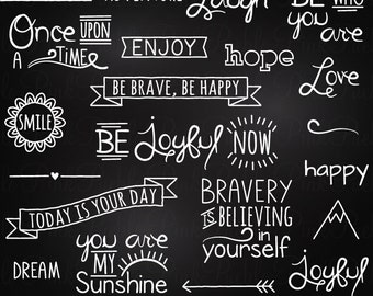 Chalkboard Quotes Clipart Clip Art, Chalk Board Words Clipart Clip Art Vectors - Commercial and Personal Use