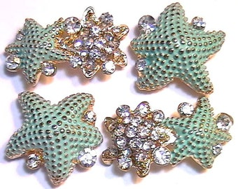 Four 2 Hole Slider Beads 2 Hole Spacer Beads Gold Tone Clear Crystal Studded Painted Turquoise Starfish Nautical Sea Star Ocean Beach Beads