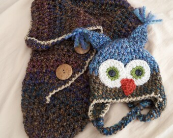 Baby Hats -Newborn - Baby Owl Hat and Cocoon Set - Blue and Brown Owl and Cocoon - by JoJosBootique