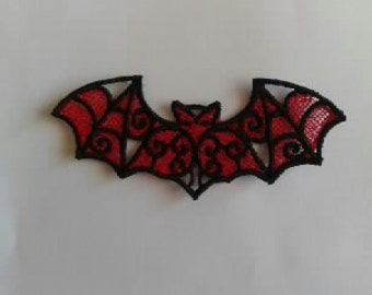 UK Black on red gothic lace bat applique, trimming, choker centerpiece, cuff, wedding
