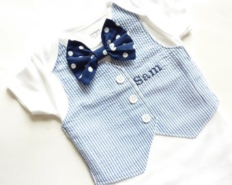 Personalized Navy Blue Tuxedo Bodysuit Vest with Removable Matching Bow Tie