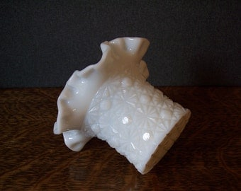 Vintage Milk Glass Daisy and Button Pattern Ruffled Top Hat Vase by Fenton Glass