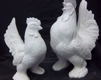 Hen and Roaster set ceramic bisque ready to be painted by You.