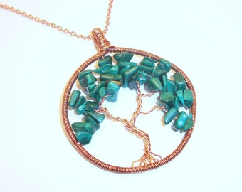 Copper and Malachite Tree of Life Necklace Free Shipping