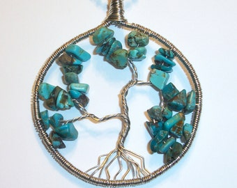 Turquoise and Silver Tree of Life Necklace Free Shipping