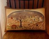 Harvest Town Pillow, Primitive, Fall, Thanksgiving, Apples