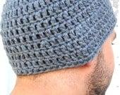 Crocheted Beanie, Guys Beanie Style Hat, Crocheted Hat, Gray Skull Cap