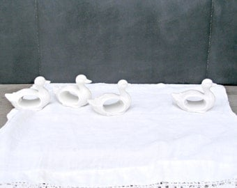 Vintage Napkin Rings | Set of Four White Ducks