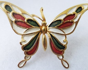 Vintage ivory, burgundy, and green enameled butterfly brooch in gold tone brooch Sale half price