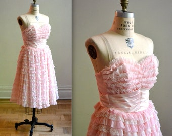 Vintage 50s Prom Party Dress Pink Crinoline Dress// Crinoline 50s Party Dress in Pink, Size XS// 50s Vintage Bridesmaid Dress in Pink