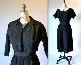 Hold 1950s Vintage Black Dress Size Large and Black Jacket Large// Vintage 50s Party Black Dress Size Large With Cropped Jacket New Look