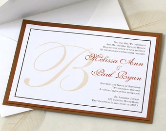 Wedding Initial Wedding Invitation, Custom Wedding Invitation, SAMPLE