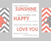 "Gray and Coral Nursery Prints or choose any colors Elephant Chevron You are my Sunshine - Set of three - one 11""x14"" and two 8""x10"" prints"