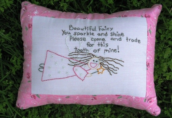 Deluxe Hand Embroidered Tooth Fairy Pillow