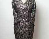 Vintage Lord and Taylor - Suit gold & silver black   /