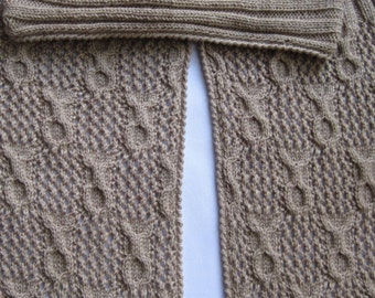 Knit Scarf Pattern:  Sandy Circles Cable Lace Turtleneck Scarf Knitting Pattern