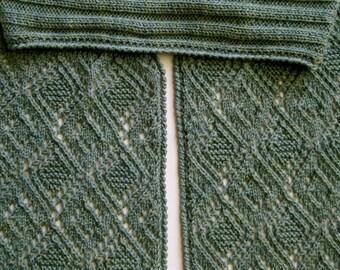 Knit Scarf Pattern:  Triple Diamond Turtleneck Scarf Knitting Pattern