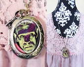 FREE SHIPPING Large Silver Plated Locket Necklace Frankenstein 1.1