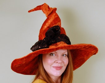 wizard or witch hat- LAUREL - Pumpkin Orange Magic - Halloween- crushed velevet panne