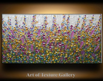 Abstract Texture Painting 48 x 24 Original Custom Texture Carved Sculpture Flowers Copper Gold Green Modern Metallics Oil by Je Hlobik
