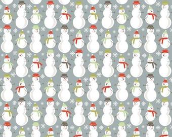Merry Little Christmas Gray Snowman Fabric - Riley Blake