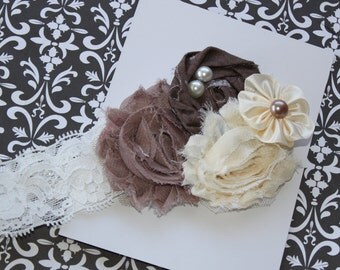Fall Headband.....Fancy Taupe, Brown and Ivory Lace Headband   (Newborn, Toddler, Child)