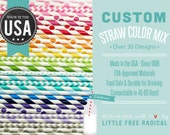 CUSTOM STRAW MIX - You Choose from Over 50 Colors &  Patterns - - - Stripe - Chevron  - Polka Dot - - - Made in America