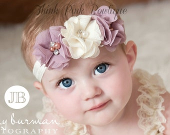 SALE! Baby Headband, Ivory Headband, baby girl headband,Newborn Headband, shabby chic flower headband, Baby Headbands,Baptism Headband.