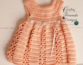 Crochet Pattern: Ribbon & Lace Infant Dress and Afghan set