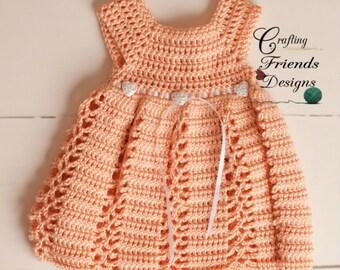 Crochet Pattern. Ribbon & Lace Infant Dress and Afghan set