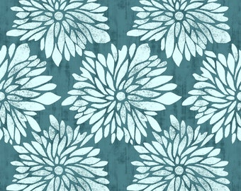 DAHLIA in Teal  PWTY012 - Ty Pennington - Free Spirit Fabric - By the Yard