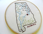 Alabama State Map Wall Art. Hand Embroidery Hoop Art. 7 inch. College. Home. Travel Map Art, College. Personalized Christmas. Gallery Wall.