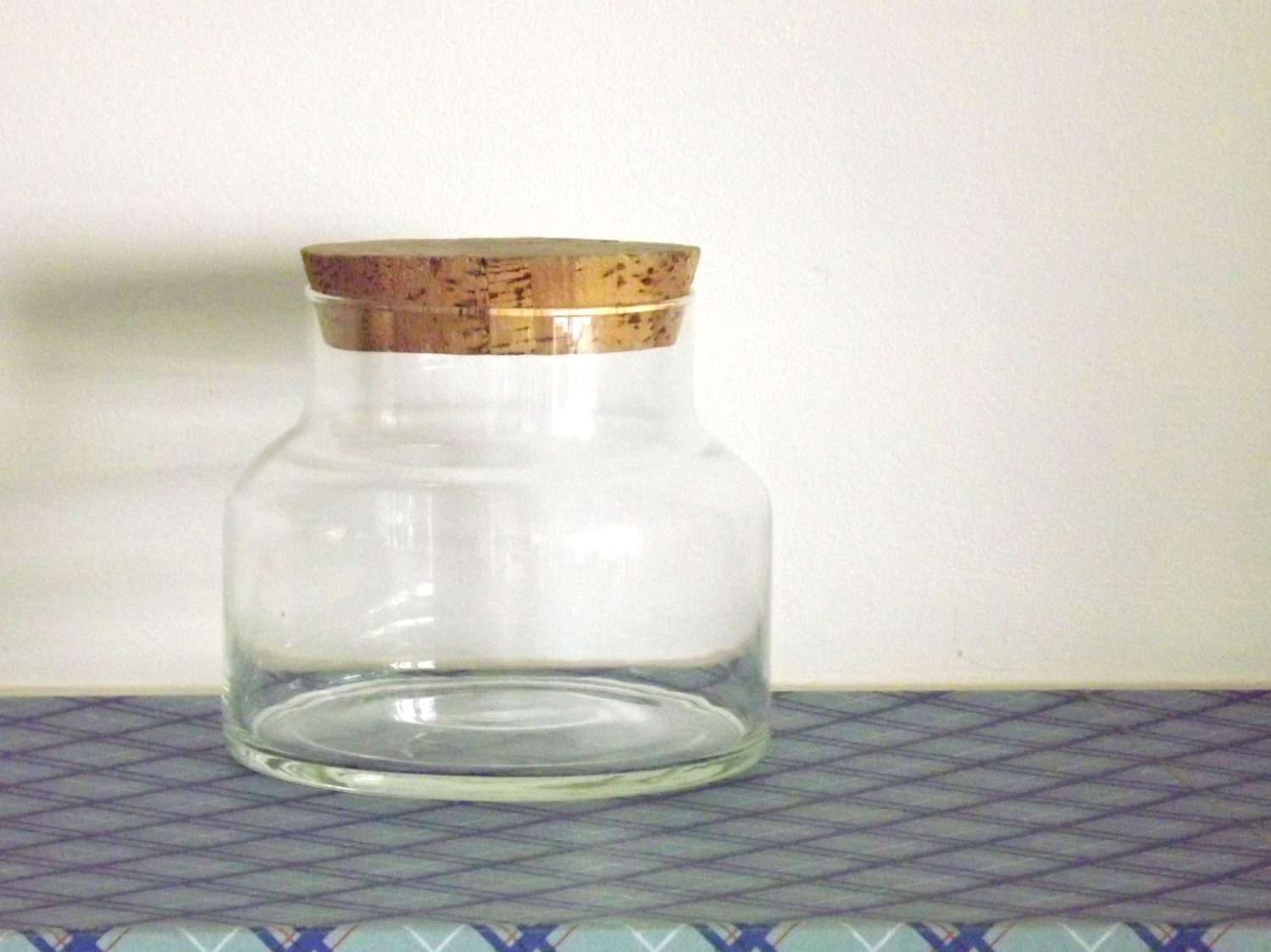 Extra Large Clear Glass Jar With Cork Lid Vintage 1970s