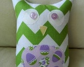 EASTER - Ollie the Owlet  - Stuffed Owl - Green Chevron with Purple Easter Egg Belly