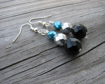 Turquoise, Black, and Silver Glass Beaded Earrings