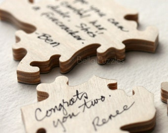 70 pc Wedding Guest Book Puzzle, custom guestbook alternative, WOOD puzzle guest book, Bella Puzzles™, rustic wedding, boho wedding