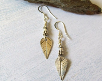 Silver Leaf Earrings, Real Leaf Earrings, Unique Dangle Earrings, Woodland Jewelry