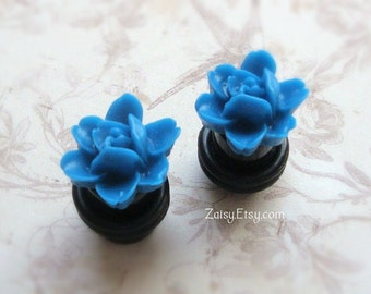 Small Flower Plugs, Corn Flower Blue or Red for Gauged Ears Size 0, 2, 4, 6 gauge, Also available as regular earrings